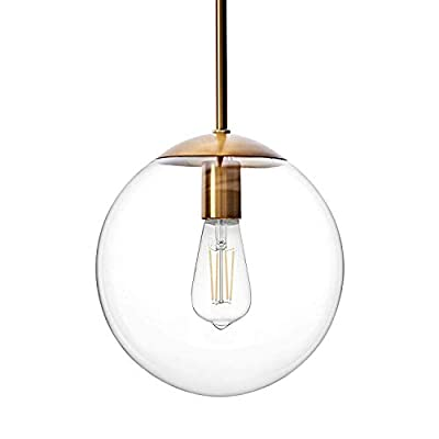 MOTINI Globe Pendant Light, 1-Light Hanging Pendant Lighting Fixture for Kitchen Island Dining Room, Gold Brushed Brass Finish with Clear Glass Shade