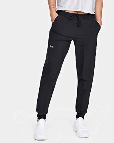 Under Armour UA Armour Sport Woven Pant, Pantaloni tuta Donna, Black / Metallic Silver , L