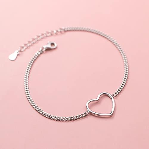 N/A Día de San Valentín s925 plata simple hueco amor tobillera mujer dulce en forma de corazón estudiante calzado aniversario día de la madre regalo de cumpleaños