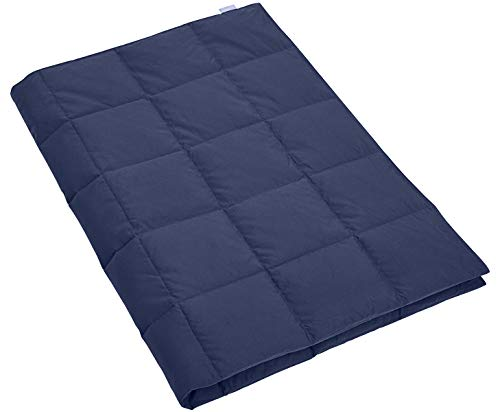 Velvelty Lightweight Goose Down Camping Blanket, Packable Down Throw with Soft Peach Skin Fabric Navy 50' x 70'