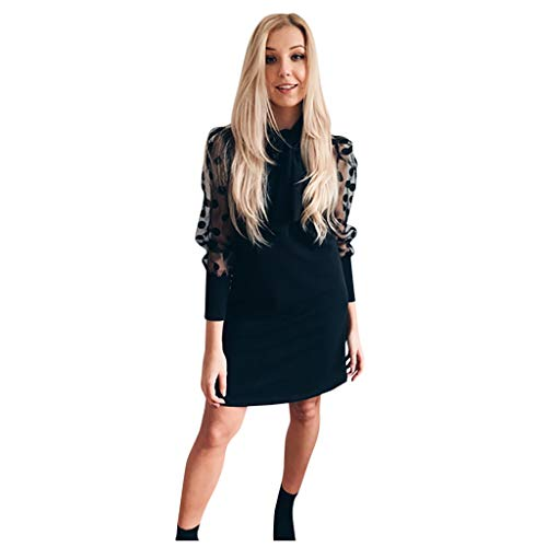 SETSAIL Mode Elegantes Rollkragenkleid Damen Laterne Ärmel Punkt Perspektive Mesh Ärmel lässig Minikleid Rundausschnitt Spitzenkleid...