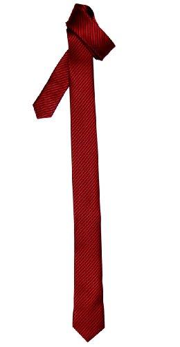 Retreez Corbata fina para hombres con textura de rayas Rojo vino