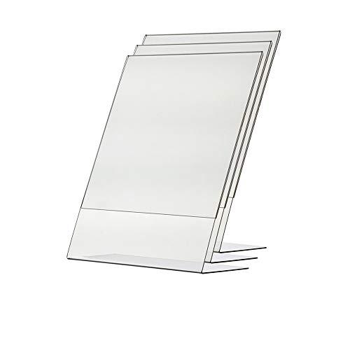 Marketing Holders Acrylic Sign Holder 8.5 x 11 (3 Pack) Highest Quality Portrait and Landscape Acrylic Frame Plastic Sign Holder Plastic Frame Flyer Stand Flyer Holder