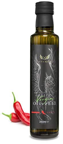 Premium Olivenöl Chili Kaltgepresst Asterius   griechisches natives Öl extra 100% Koroneiki Olive   chiliöl 250ml