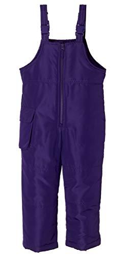 Sportoli Kids Water Resistant Snowboard Skiing Snowbib Snowpants Snow Bib Pants - Purple (Size 3T)