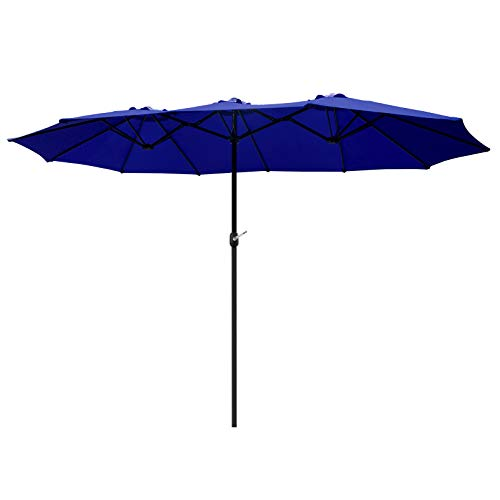 of extra large patio umbrellas SFJ-CA 15ft Extra Large Patio Umbrella Double-Sided Outdoor Garden Market UV Protection Umbrella with Crank,12 Sturdy Ribs, Twin-Sided Sunshade - Blue