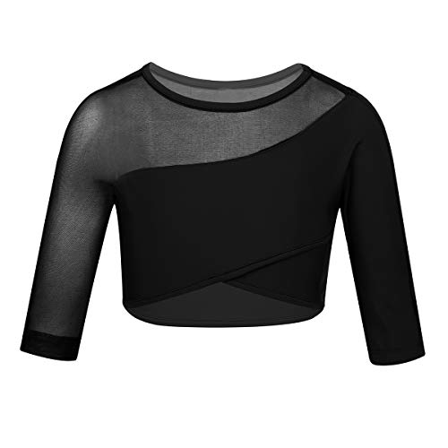 Yeahdor Big Girls' Kids Asymmetrical Mesh Splice Long Sleeve Yoga Gym Crop Top Workout Athletic Sports Shirt Activewear Black 10-12