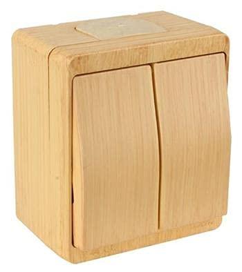 2fach Aufputz Schalter (Ein / Aus) / Doppelschalter Holz Optik / Holzfarben · Buche / Kiefer · IP44 / für Feuchtraum geeignet · Mutlusan · AP Serie NEMLIYER