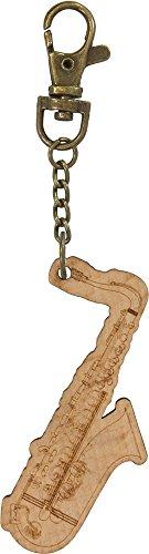 Schlüsselanhänger Holz-Saxophon mit Bronze-Schlüsselkette