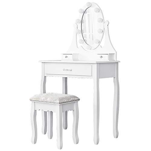 POPSPARK Toilette, Tavolo da Trucco con Specchio Ovale a LED,Sgabello Imbottito e 2 Cassetti,per Il Trucco