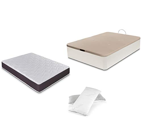 Dormidán - Pack de canapé abatible de Gran Capacidad + colchón viscoelástico + Almohada visco Copos de Regalo (135_x_190_cm, Blanco)