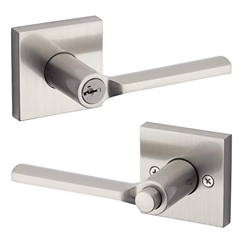 Kwikset 91560-022 Lisbon Square Keyed Entry Lever Featuring SmartKey in Satin Nickel