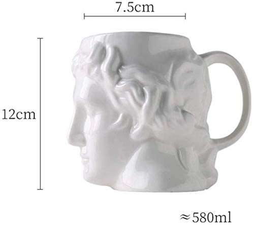 Mnjin Home Decor Keramik-Trinkbecher, antikes griechisches Idol Apollo Statue Art Keramiktasse Bier Kaffee Teetassen Pub Bar Drinkware Home Decor Geschenk, C