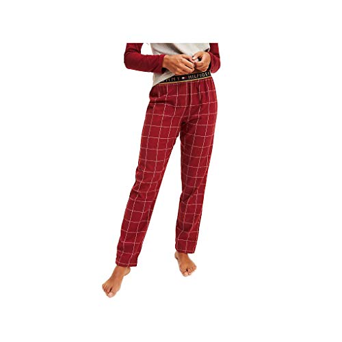 Tommy Hilfiger Flannel Pant Check Tanga, Rojo (Red 629), Talla única (Talla del Fabricante: MD) para Mujer