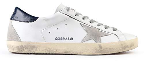 Golden Goose Damen Sneakers Leder Super Star Frances Casual Sport Schuhe, Navy Blue-Letter - Größe: 38 EU