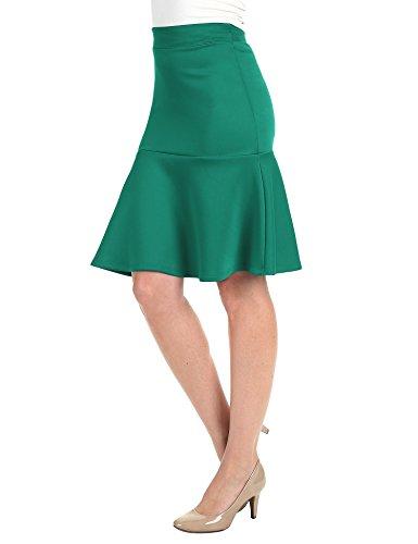 WT1471 Womens High Waist Bodycon Fishtail Midi Skirt M Jade