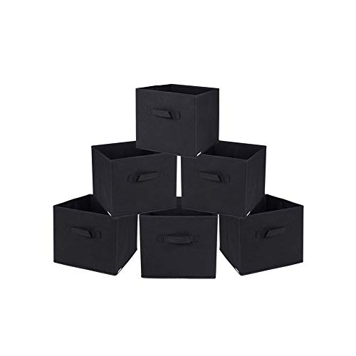 Rebecca Mobili Set 6 Pz Scatole di Stoccaggio Cesti Contenitore con Maniglia Nero Tessuto Organizzazione Biancheria Documenti – Misure: 28 x 26,5 x 26,5 cm (HxLxP) – Art. RE4724