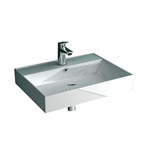 Alpenberger Waschtisch/Waschbecken aus Sanitärkeramik mit Überlauf und Nanobeschichtung I Moderne Waschbecken zur Gäste WC Lösung