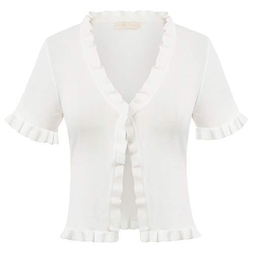 Belle Poque Elegante Blazer Jäckchen Bolero Damen hülsen Bolero Weiß Bolerojacke festlich Shrug L BP2077-2