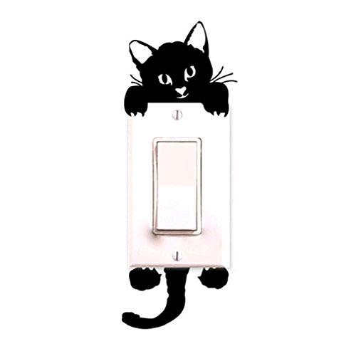 Wandtattoo für Lichtschalter, Motiv: Katze, Dekoration für Kinderzimmer, Schwarz