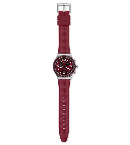 Swatch Herren Analog Schweizer Quarz Uhr mit Silicone Armband YVS464