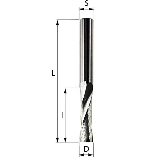 Spiralnutfräser Z2 VHW Oberfräser Schaftfräser mit Schaftdurchmesser 6mm, 2 Schneiden, VHM (D=8 S=6 l=32 L=70)