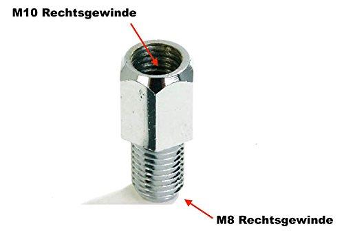 Spiegel Adapter Loch (Innen) M10 Rechtsgewinde auf Bolzen (Außen) M8 Rechtsgewinde chrom