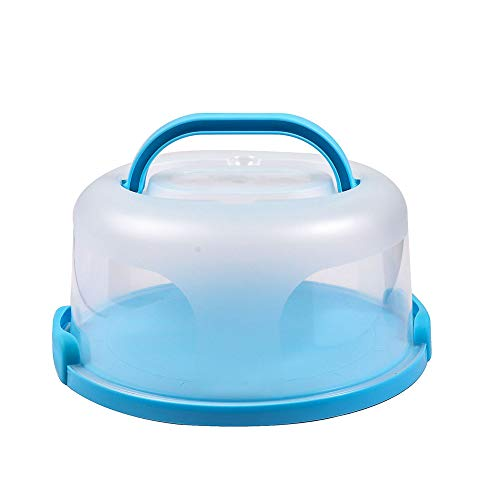 Small Cake Carrier Keeper with Handle Portable Round Cheesecakes Container for Easy Transporting Pies, Cookies, Desserts Suitable for 6 inch Cake or Less (blue)