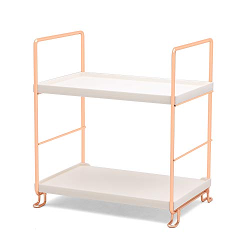 Plastic/Metal Freestanding Stackable Organizer Shelf,Bathroom Countertop Storage Shelf Cosmetic Organizer Holder Kitchen Spice Rack,2-Tier Standing Rack (Rose Gold)