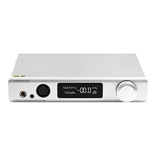 Topping DX7 Pro ES9038Pro DAC Bluetooth 5.0 32 bit / 768 kHz DSD1024 LDAC ad alta risoluzione decoder Amplificatore per cuffie (Argento)