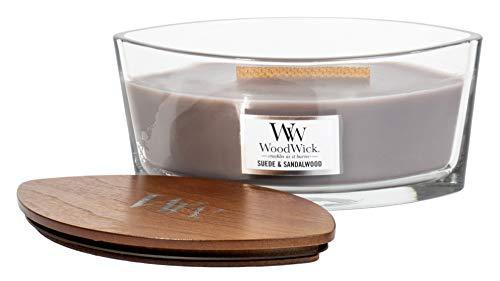 WoodWick Vela aromática de gamuza y sándalo en recipiente de cristal