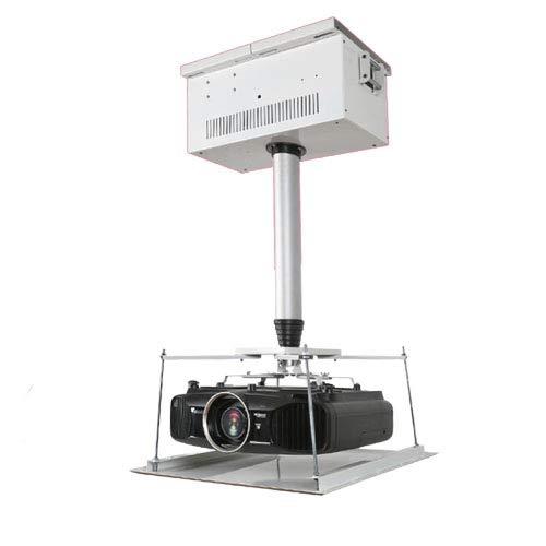 CGOLDENWALL 100-400cm Soporte para Proyector de Techo Elevador de Proyector Carga Máx 25kg con Control Remoto para Sala de Conferencias, de Exposiciones (Distancia de Funcionamiento: 200cm)