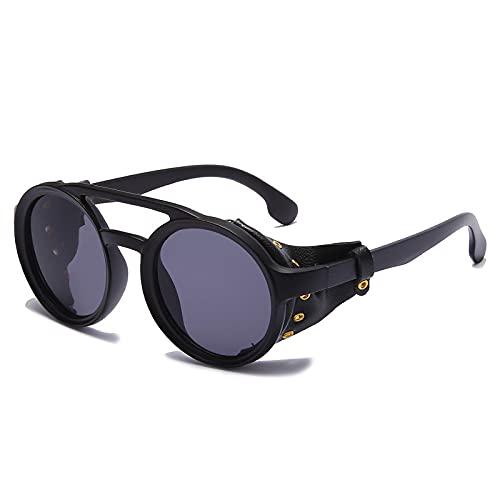 BANLV Gafas de Sol Retro de Aviador a Prueba de Viento con Montura Redonda Europea y Americana Gafas de Sol de Metal