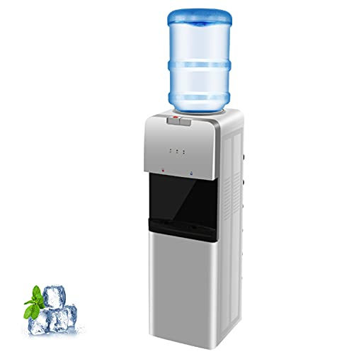 SWHOME Water Dispenser Water Cooler 5 Gallon - Top Loading, Hot, Cold & Room Water, Child Safety Lock, Slim Design Water Dispenser for Home and Office Use, ETL Approved, Grey