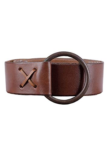 NauticalMart Medieval leather belt with brass ring, approx. 150 cm long - Viking LARP leather belt