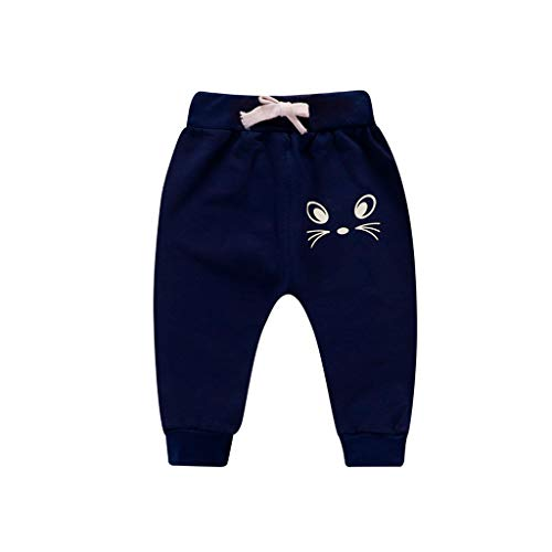 Sunenjoy Pantalon Bébé Garçon Fille Sarouel Élastique Pantalon de Jogging Running Sport Chat de Dessin Animé Imprimé Casual Mode Mignon pour Enfant 0-3 Ans (2-3 Ans, Marine)