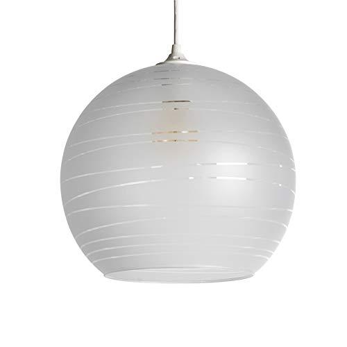 LUSSIOL Luminaire Shadow blanc, suspension verre, 75 W, blanc, ø 35 x H 30 cm