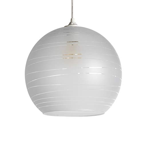 LUSSIOL Luminaire Shadow blanc, suspension verre, 75 W, blanc, ø 35 x H 30 cm