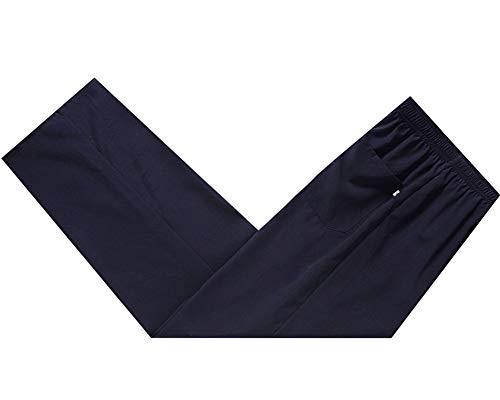 Hombres Chino Antiguo Tradicional Kung fu Color sólido Pantalones de Entrenamiento Navy 3XL