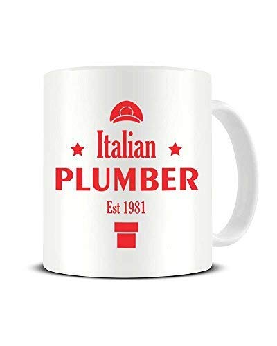 N\A Fontanero Italiano EST 1981 - Super Mario Bros - Taza de café Divertida y novedosa - Taza de té de cerámica - Idea de Regalo Chrismtas