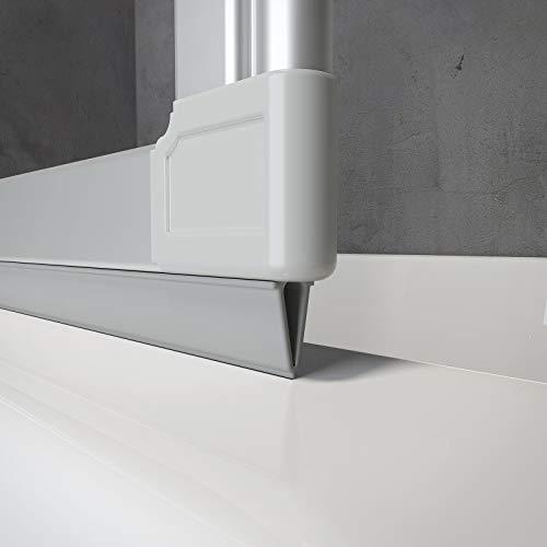 Schulte PVC Dichtung E60076 für Badewannenfaltwand D1300, D1603, D160370, D1330 uvm, 130 cm, Grau für Profilfarbe Alu-Natur