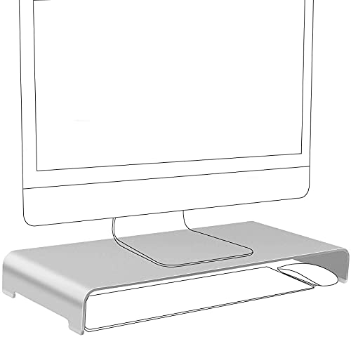 Vaydeer Aluminium Monitorständer Computer Riser Metall Desktop Monitor Ständer bis zu 27 Zoll Bildschirme für PC, Mac, MacBook, Laptop mit Speicherplatz Organizer für Keyboard & Mouse - Silber, Groß