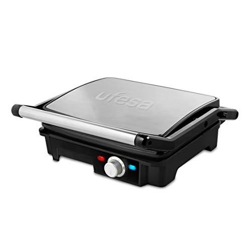 Ufesa PR2000 - Grill, 2200W, Placas antiadherentes, Aperturas de placas de 180º, Regulador de temperatura, Bandeja recoge grasas, Asas de toque frío