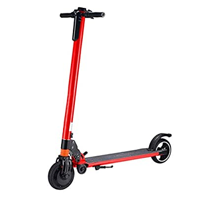Highpot_Home Kids/Adult Folding Electric Scooter, 3 Speed Up to 25 MPH 15.5 Miles Portable Folding Commuting Scooter with Double Braking System (Red)