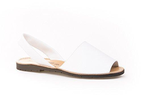 Sandalias Menorquinas Unisex Todo Piel Mod.201. Calzado Made in Spain, Garantia de Calidad. (38, Blanco)