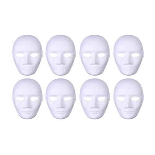 Artibetter 8pcs Maschere Bianche plastica Pieno Volto Decorazione mestiere Scuola di Halloween (Faccia Maschile)