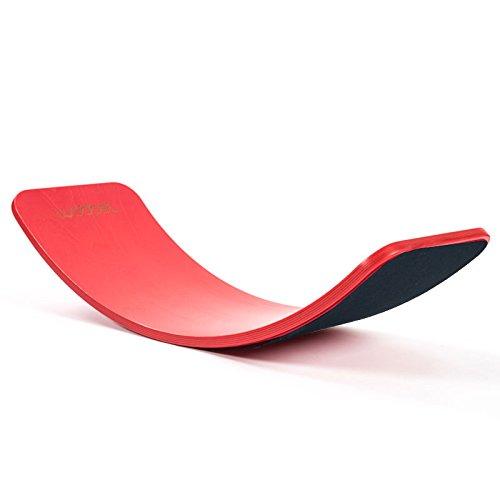 Wobbel Wobbelboard bright red rot lackiert mit Filz schwarz yogaboard