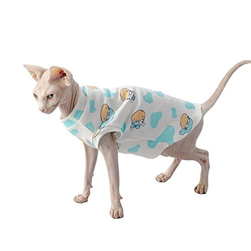NELIT Hairness Cat Chaleco de algodón Camiseta Estampada de Punto Sphynx Cat Clothes-Blue Vest_L