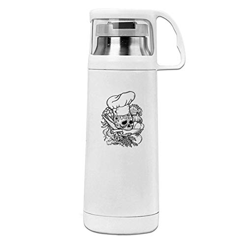 Bestqe Termo,Botella de agua,Tazas térmicas Skull Chef Original Insulated Stainless Steel Thermos Cup Portable Water Bottle with Handle Vacuum Tea Cup Travel Mug