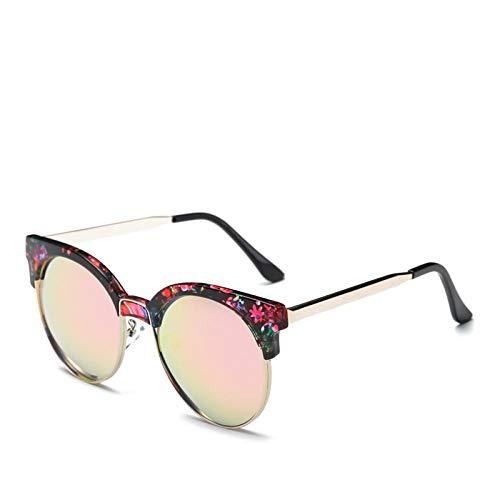 HAOMAO Gafas de Mujer con patrón de Madera y mármol para Mujer, Marco de Metal Redondo, Gafas de Sol Anti Uv400, Rosa Flor